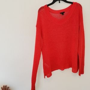 Ann Taylor Relaxed Long Sleeve Sweater, Orange